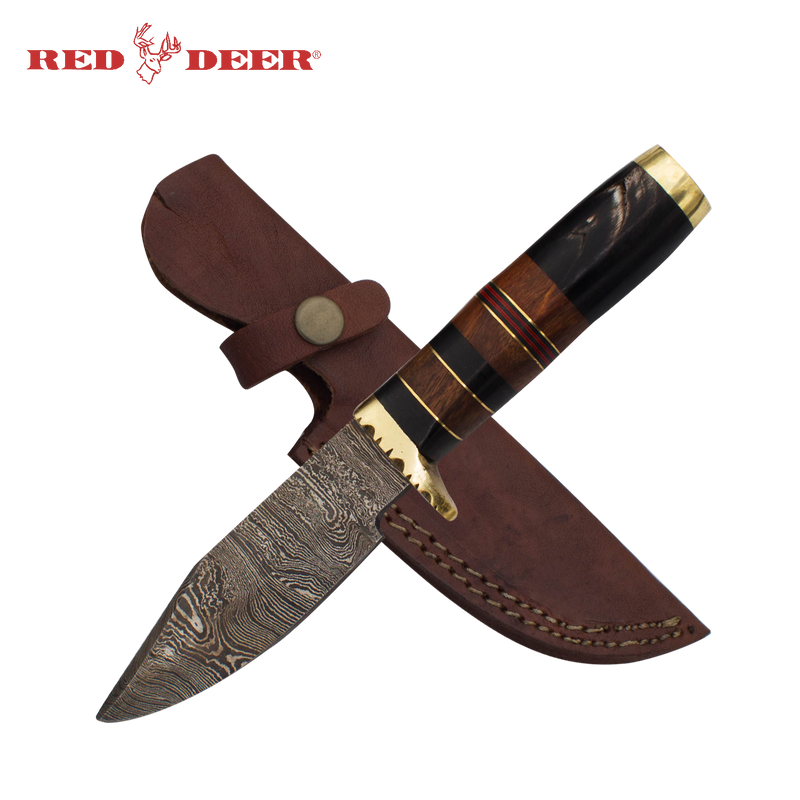 Red Deer Fine Damascus Full Tang Buffalo Horn, Brass Guard, Pakka Wood