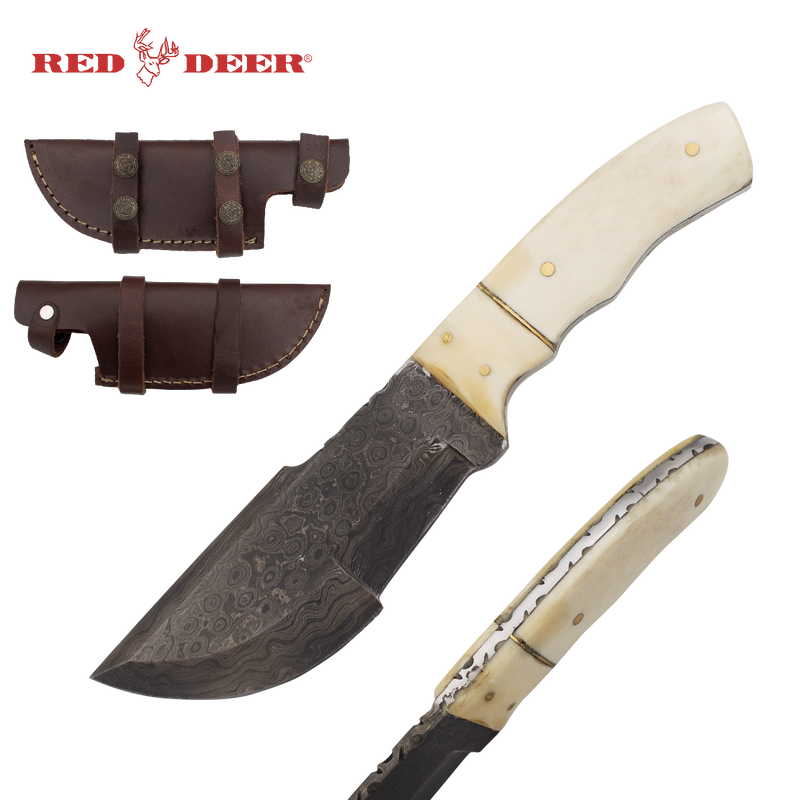 Red Deer Bone Damascus Hunter Full Tang Knife