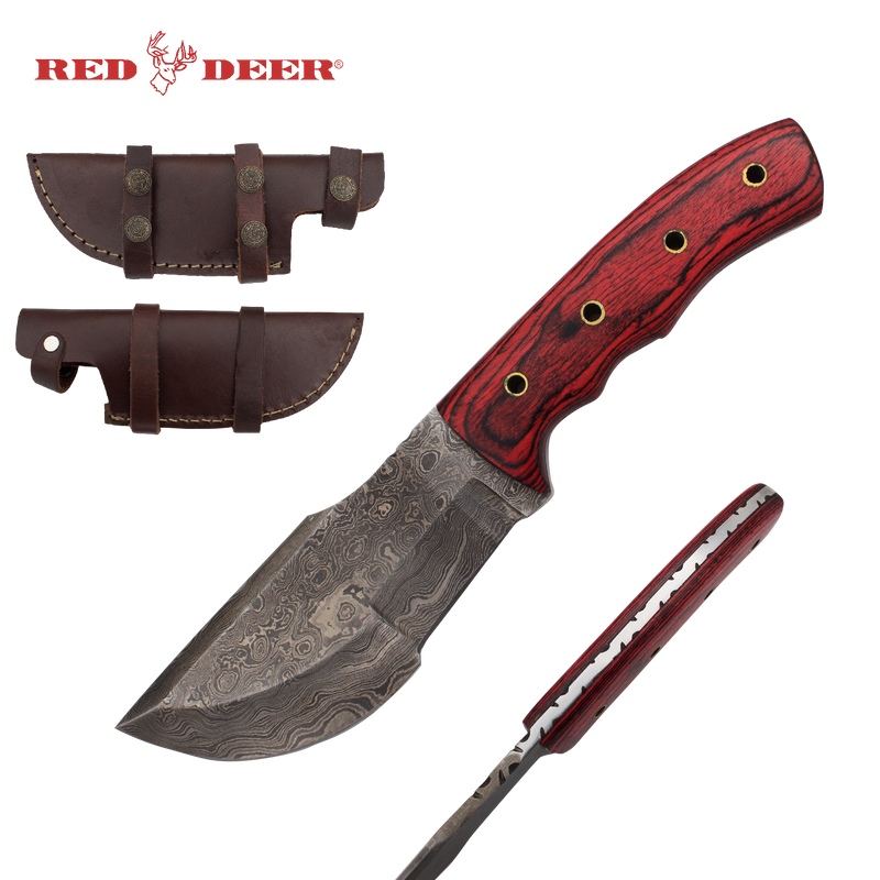 Red Deer Damascus Hunter Pakka red wood Full Tang Knife