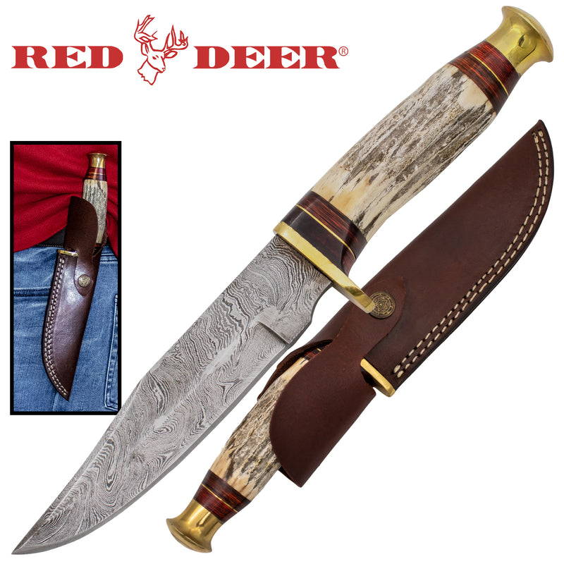 Red Deer Stag Handle Damascus Knife