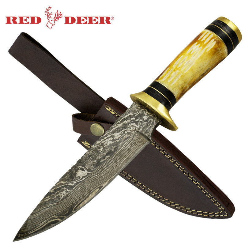 Red Deer Bone Cherokee Damascus Full Tang Knife