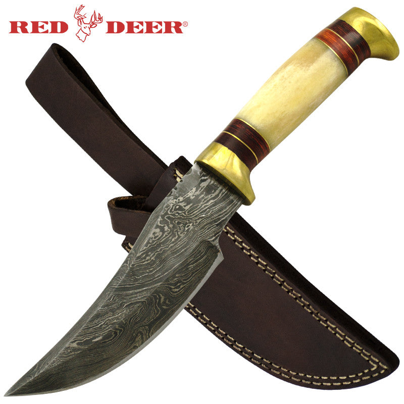 Red Deer 9.5 Inches Damascus Hunting Knife With Tan Bone Handle, , Panther Trading Company- Panther Wholesale