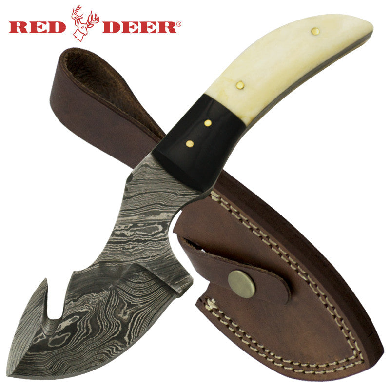 Red Deer 7.5 Inches Animal Bone Fine Damascus Full Tang Knife, , Panther Trading Company- Panther Wholesale