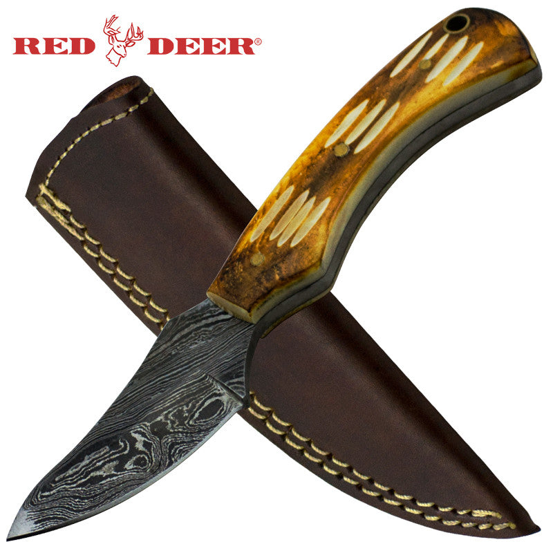 Red Deer Damascus Full Tang Bright brown Skinny Animal Bone Hunting Knife, , Panther Trading Company- Panther Wholesale