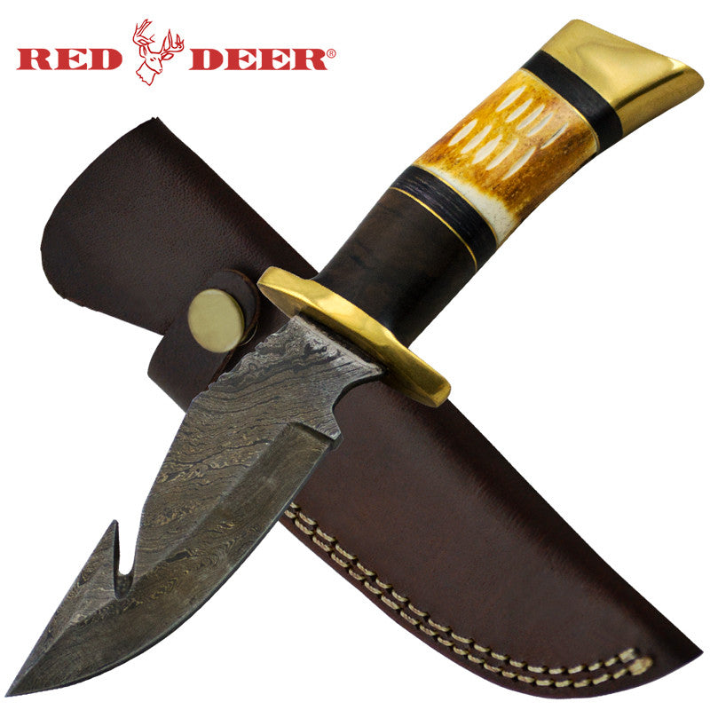 Red Deer 8.5 Inches 3 Split Handle Damascus Hunting Knife, , Panther Trading Company- Panther Wholesale
