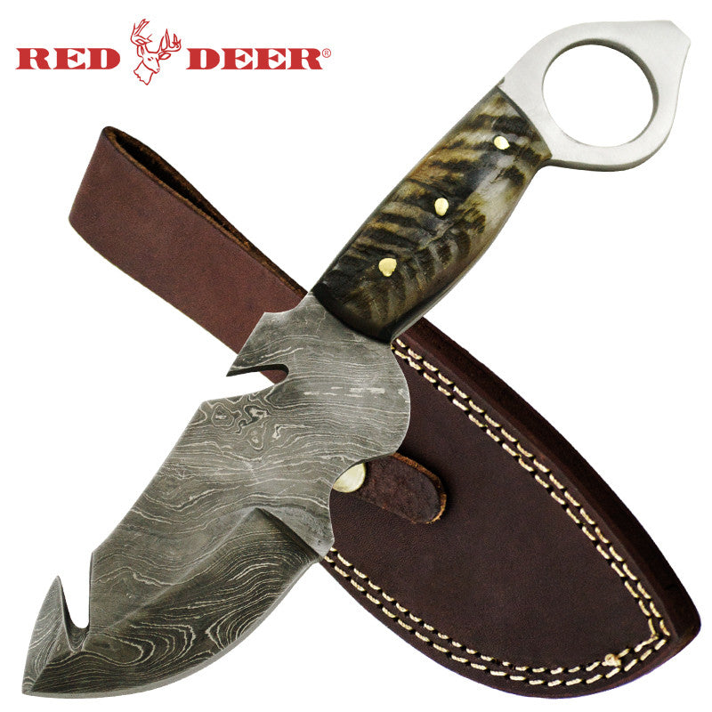 Red Deer Gut Hook Damascus Knife Burnt gray Animal Bone Full Tang, , Panther Trading Company- Panther Wholesale