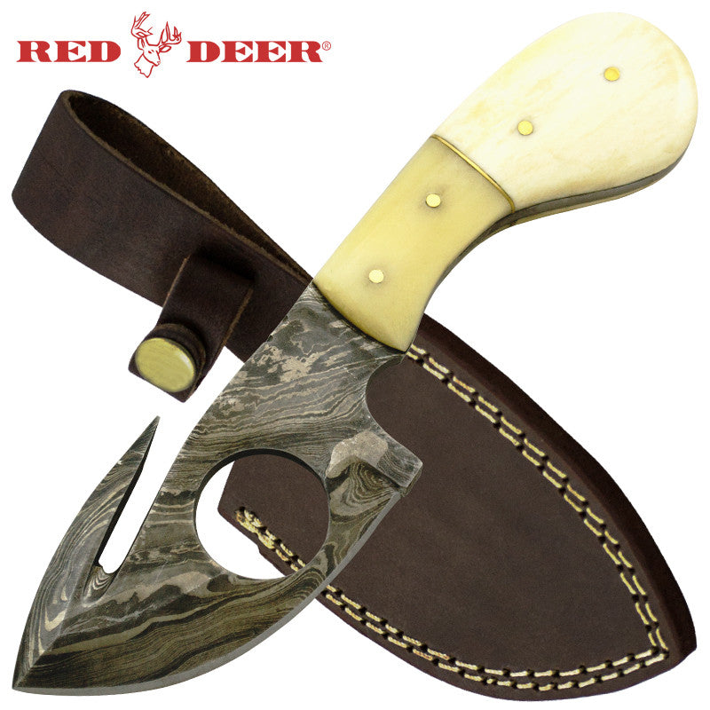 Red Deer 7 Inches 2 Tone Animal Bone Fine Damascus Full Tang Knife, , Panther Trading Company- Panther Wholesale