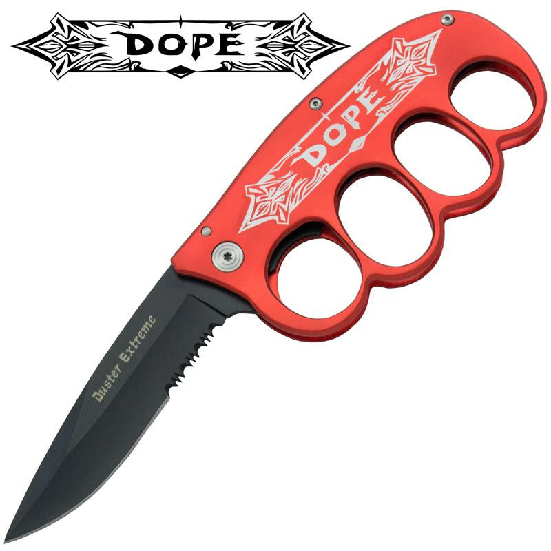 DOPE Trigger Action Folder - Red (Serrated), , Panther Trading Company- Panther Wholesale