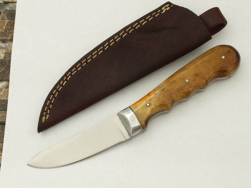 Red Deer Tanned Buffalo Bone Handle Arch Back Skinning Knife