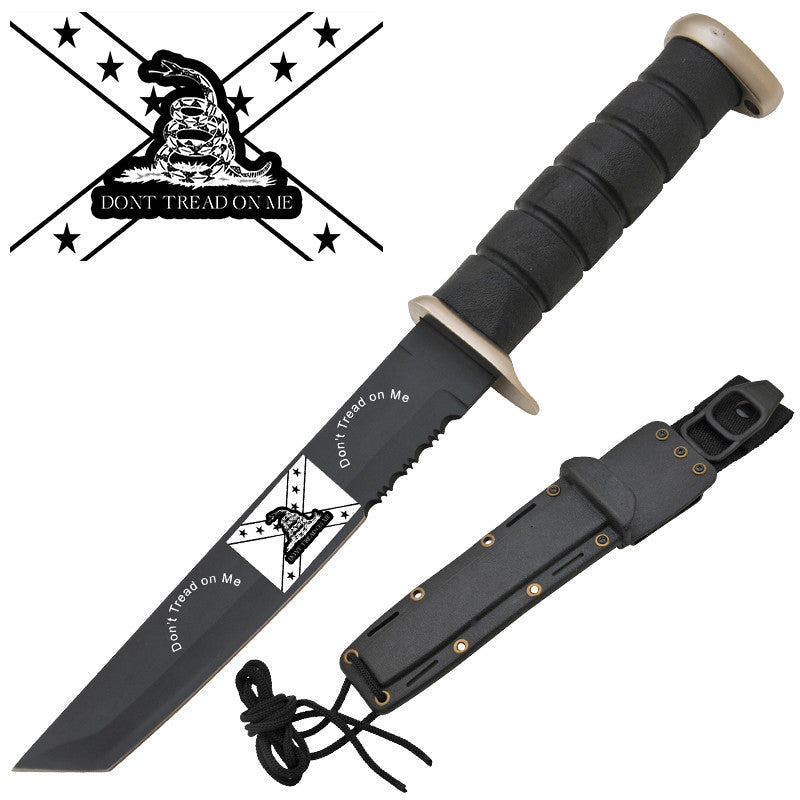 Don't Tread On Me Confederate Rebel Military Knife W/ Free Hard Sheath (Serrated), , Panther Trading Company- Panther Wholesale