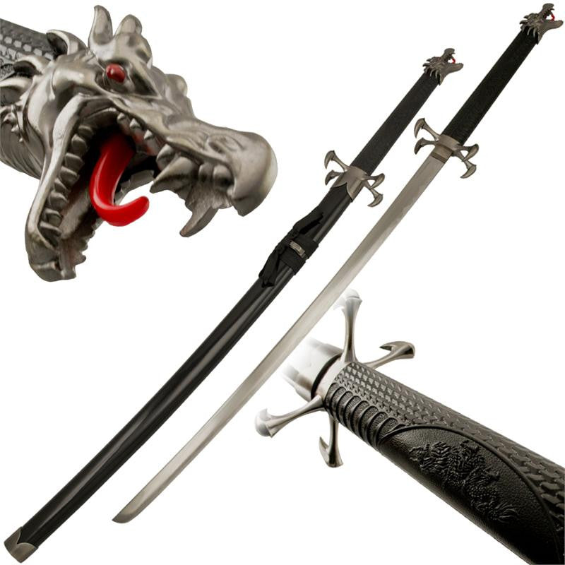 Dragon Kiss Samurai Sword Katana with Dragon Head Pommel