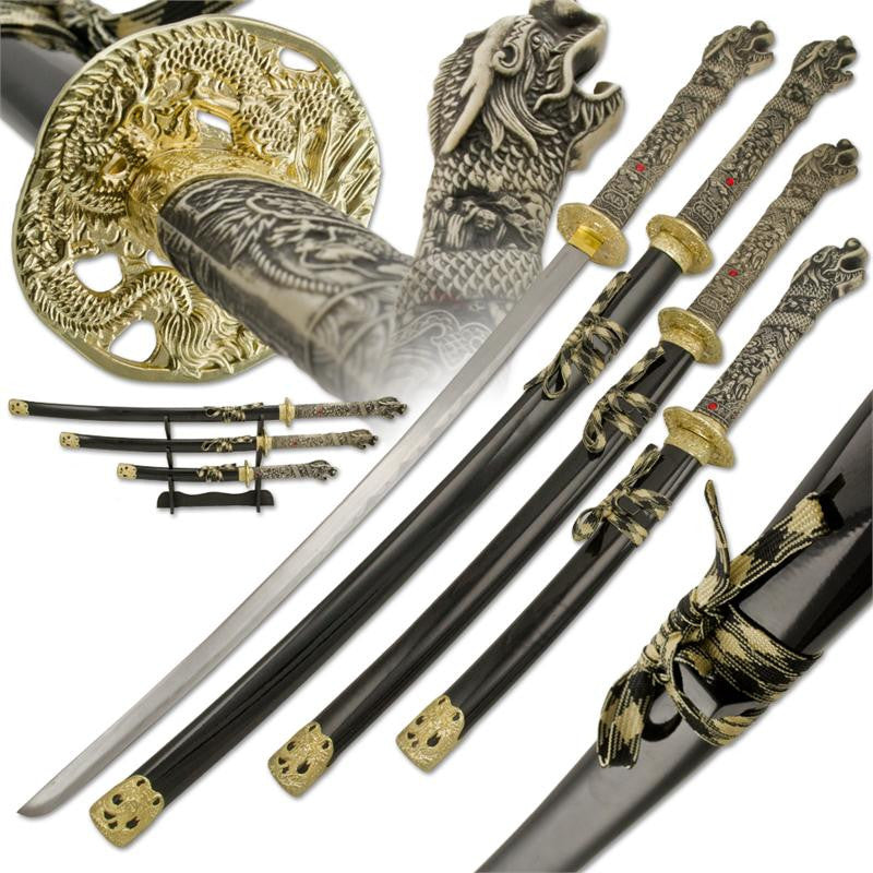 3 Pc Samurai Dragon Katana Sword Set With Detailed Dragon