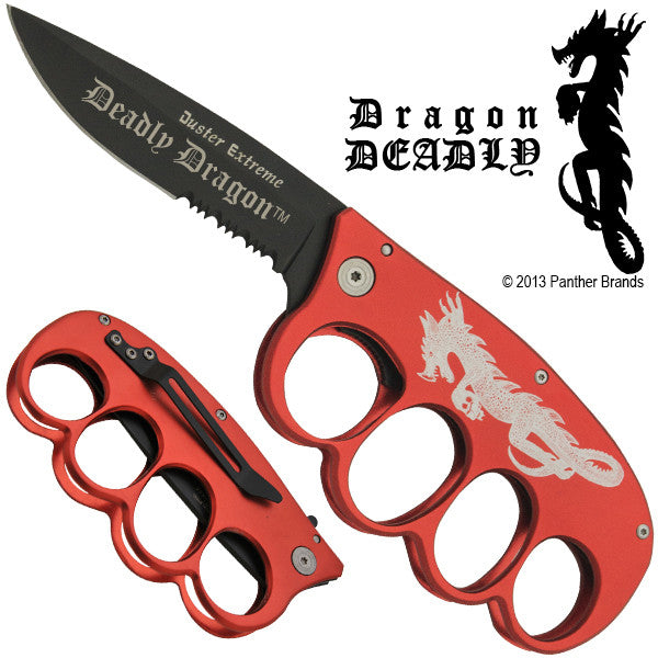 Dragon Deadly Buckle Folding Knife Duster Extreme Red Knife, , Panther Trading Company- Panther Wholesale