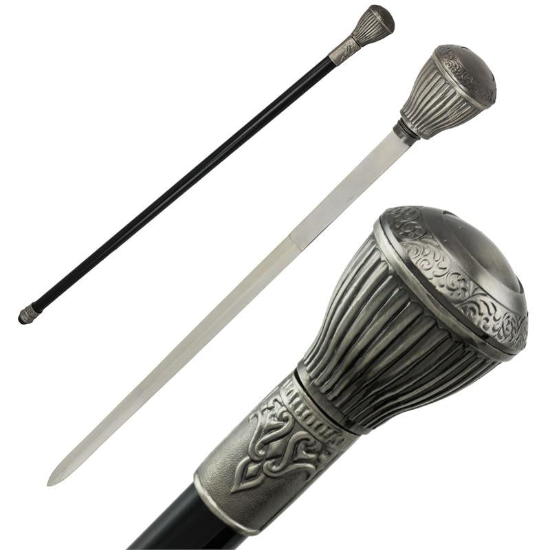Elegant Floral Steel Cane Hidden Sword