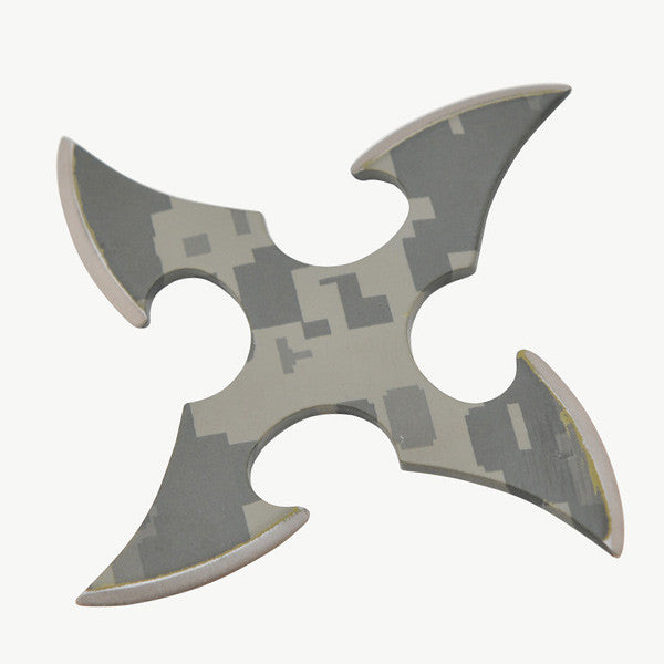 4 Bladed Green Camo Throwing star, , Panther Trading Company- Panther Wholesale