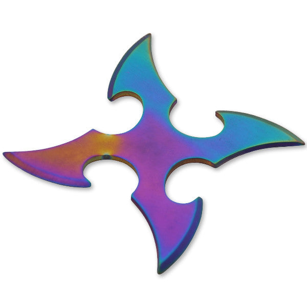 4 Blade Throwing Star-Rainbow, , Panther Trading Company- Panther Wholesale