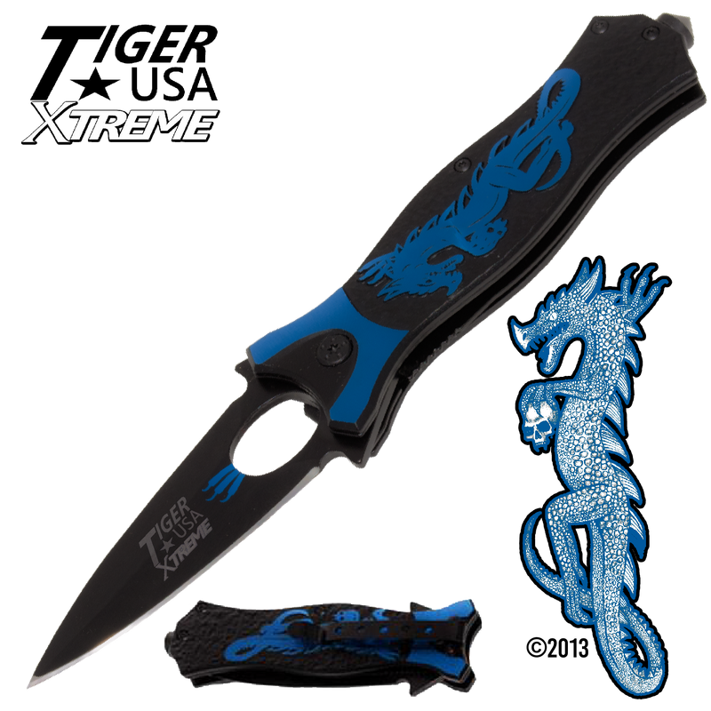 Tiger USA Xtreme Dragon Watch Trigger Action Knife - Blue, , Panther Trading Company- Panther Wholesale