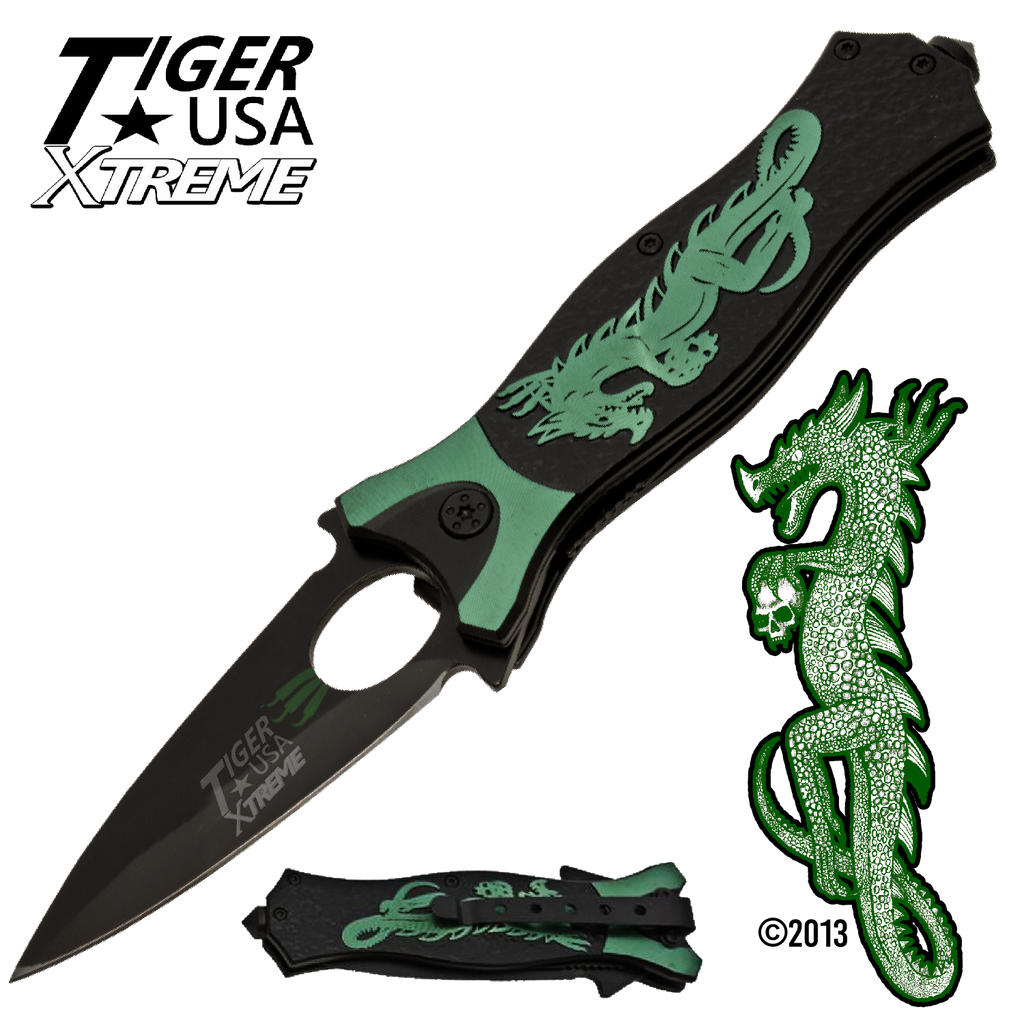 Tiger USA Xtreme Dragon Watch Trigger Action Knife - Green, , Panther Trading Company- Panther Wholesale