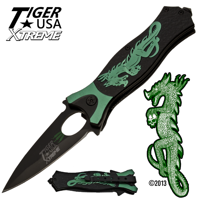Tiger USA Xtreme Dragon Watch Trigger Action Knife - Green