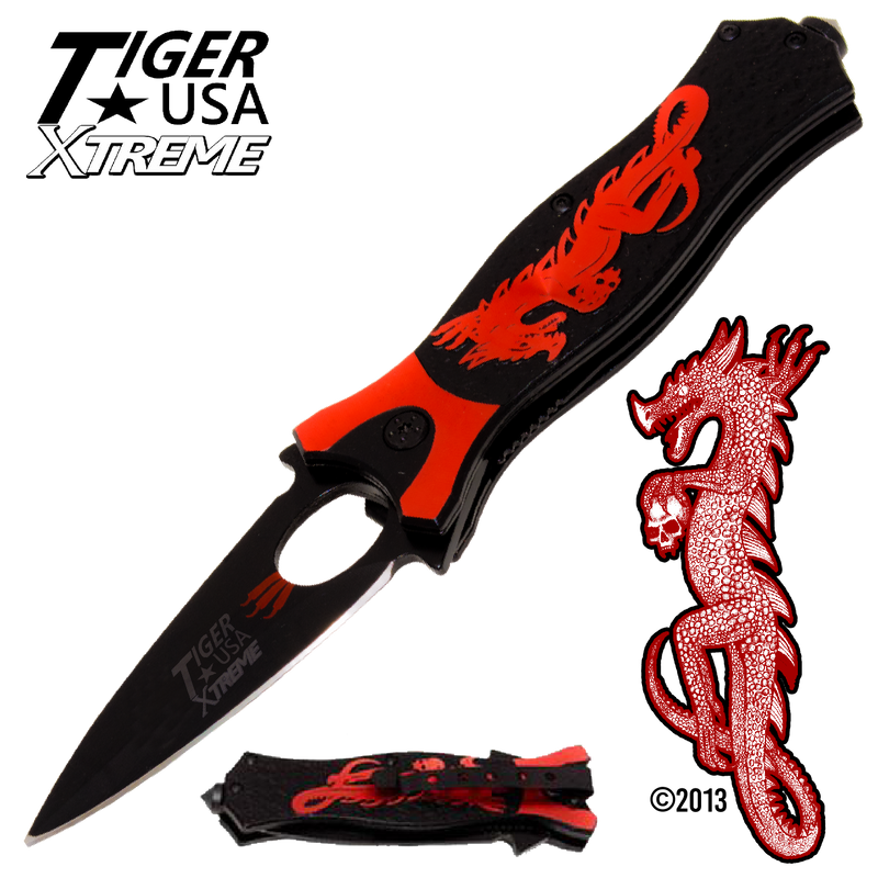 Tiger USA Xtreme Dragon Watch Trigger Action Knife - Red, , Panther Trading Company- Panther Wholesale