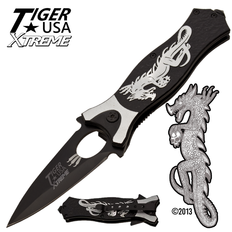 Tiger USA Xtreme Dragon Watch Trigger Action Knife - Silver, , Panther Trading Company- Panther Wholesale