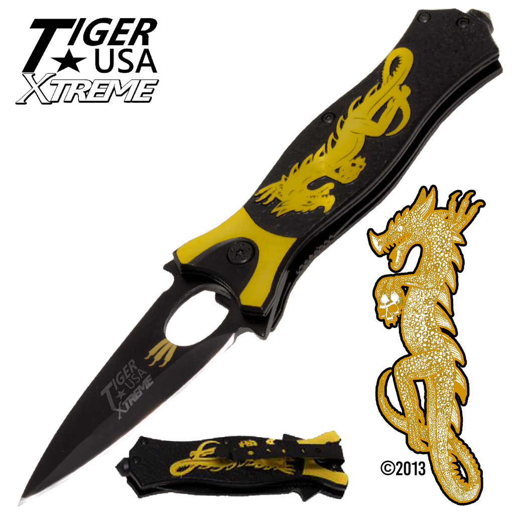 Tiger USA Xtreme Dragon Watch Trigger Action Knife - Yellow, , Panther Trading Company- Panther Wholesale