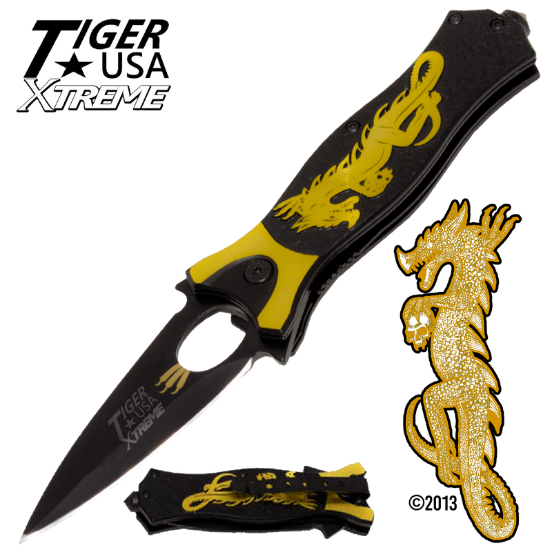 Tiger USA Xtreme Dragon Watch Trigger Action Knife - Yellow
