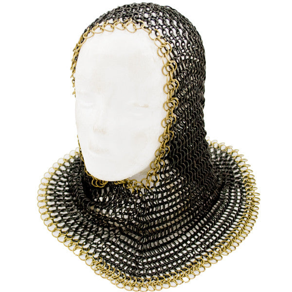 Black and Gold Chain Mail Coif, , Panther Trading Company- Panther Wholesale