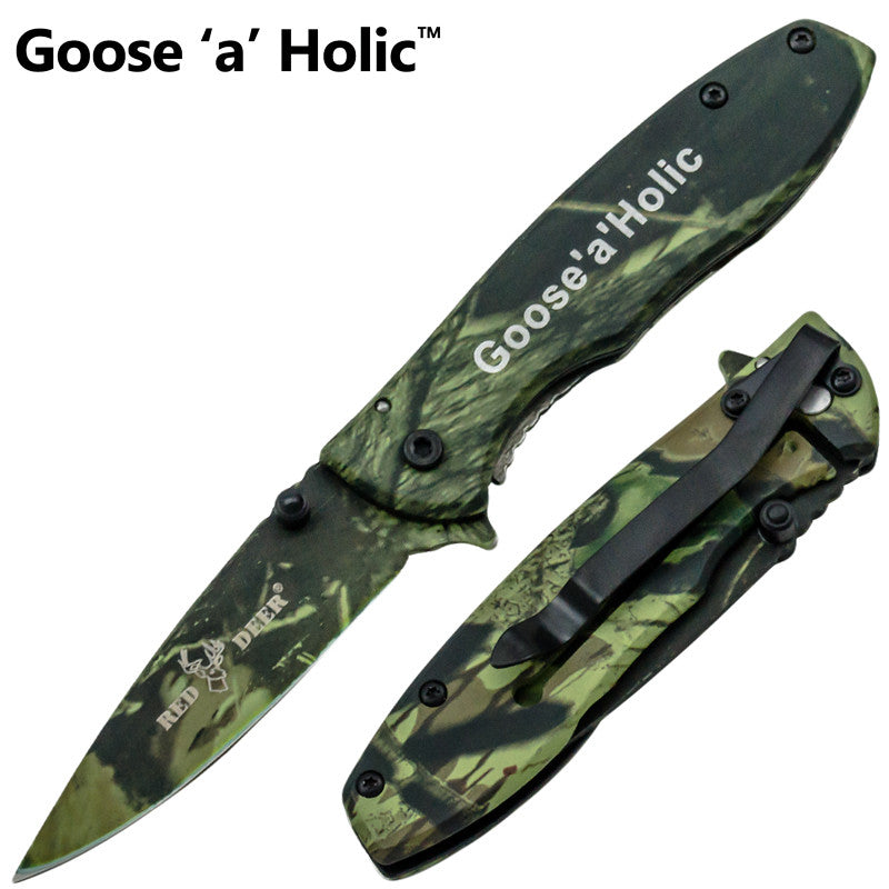 Goose A' Holic Trigger Action Red Deer Knife - Green Camo