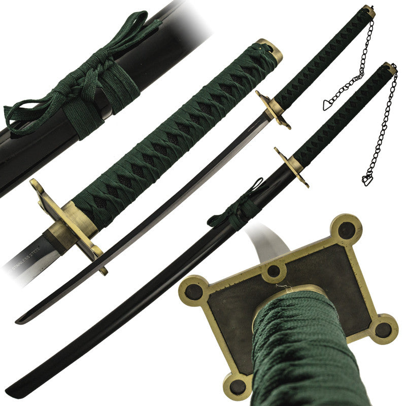 Green Katana Sword with Scabbard, , Panther Trading Company- Panther Wholesale