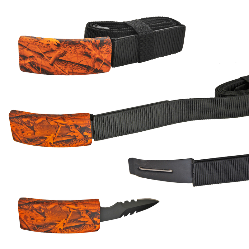 CIA Secret Agent public safety Belt Knife - Orange Leaf Camo