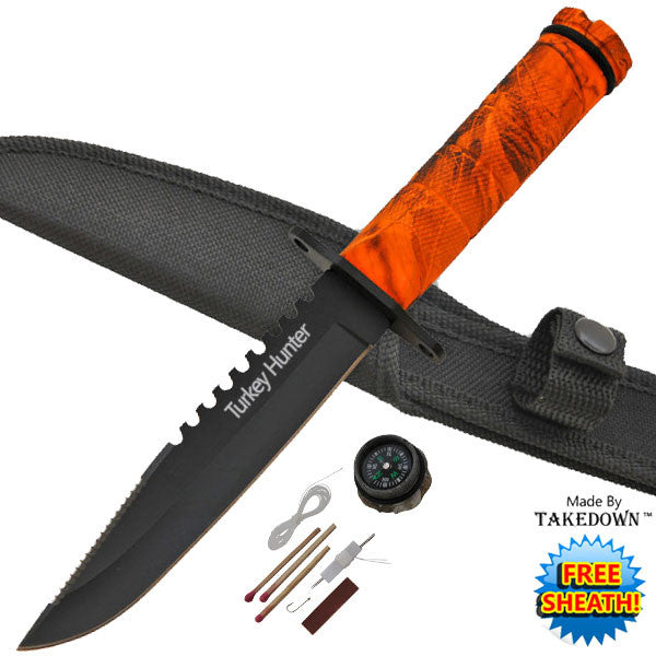 Camo Survival Knife - Turkey Hunter, , Panther Trading Company- Panther Wholesale