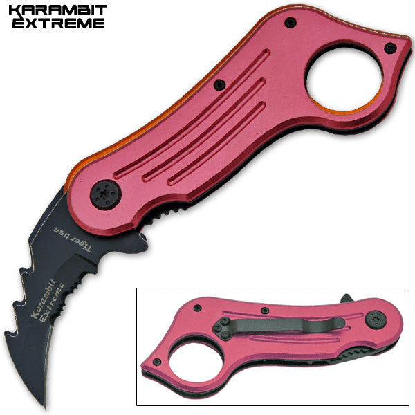 6.75 Inch Mini Combat Karambit Trigger Action Knife (Pink)