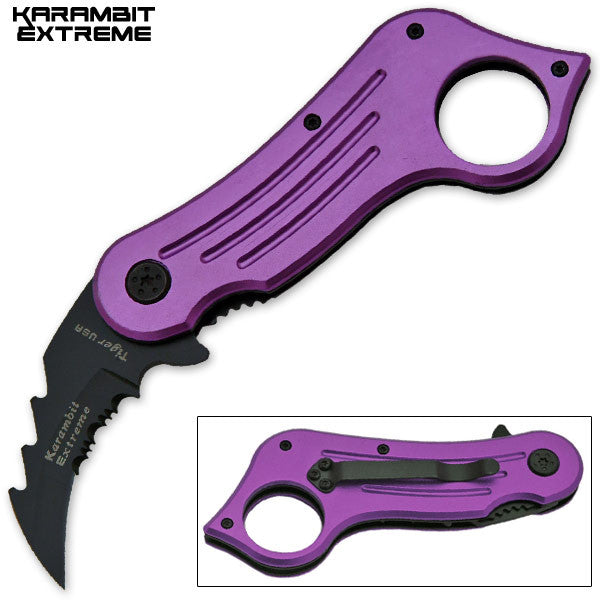 6.75 Inch Mini Combat Karambit Trigger Action Knife (Purple)