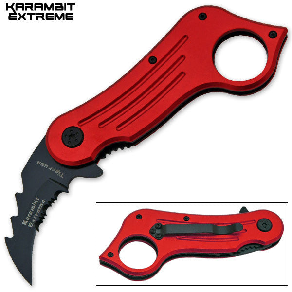 6.75 Inch Mini Combat Karambit Trigger Action Knife (Red)