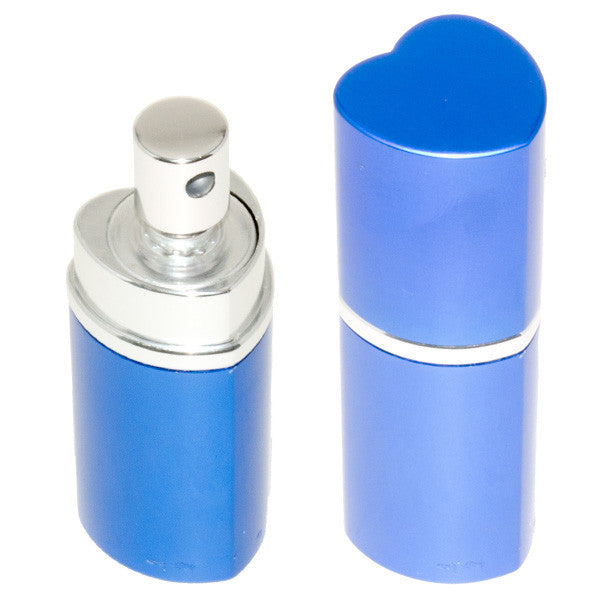 Heart Perfume Bottle Pepper Spray - Police Strength - Blue