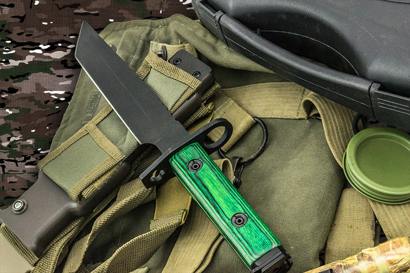 Heavy Duty Shadow Ops Bayonet Green Handle, , Panther Trading Company- Panther Wholesale
