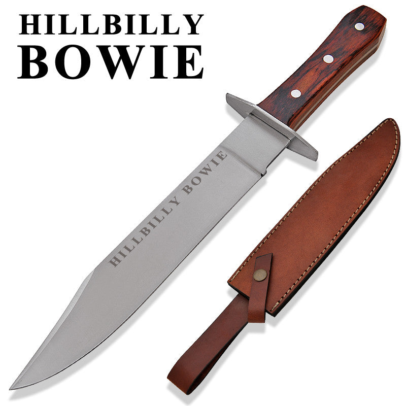 Hillbilly Bowie Red Deer Bowie Knife Wooden Handle, , Panther Trading Company- Panther Wholesale