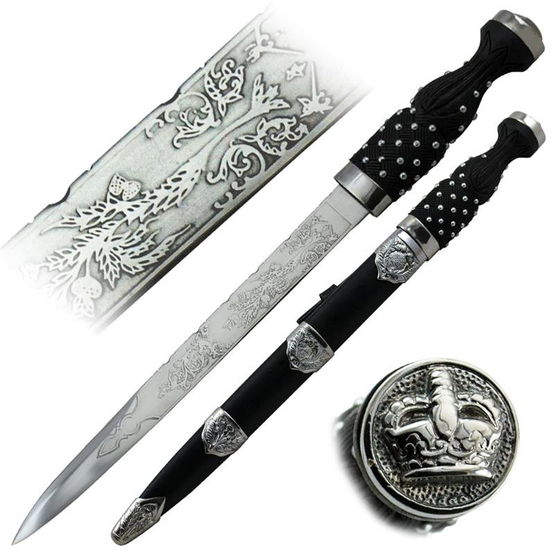 Hand Made King Dagger with Black Leather Sheath
