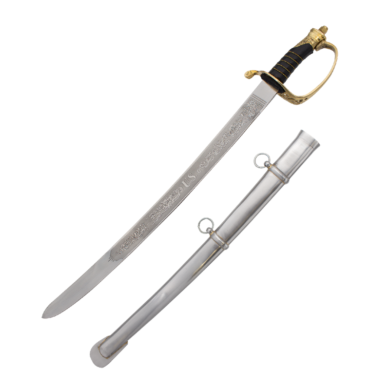 Civil War Engraved Sword With Carbon Steel Scabbard, , Panther Trading Company- Panther Wholesale