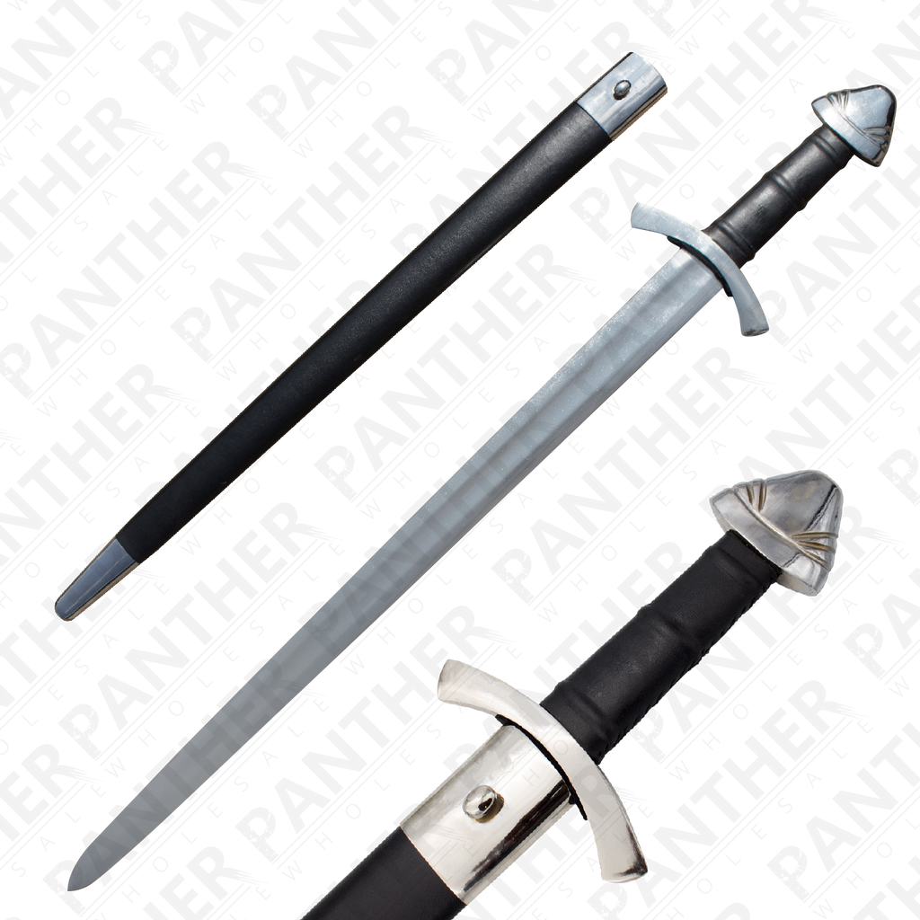 Viking Battle Ready Sword and Scabbard Set - Silver, , Panther Trading Company- Panther Wholesale