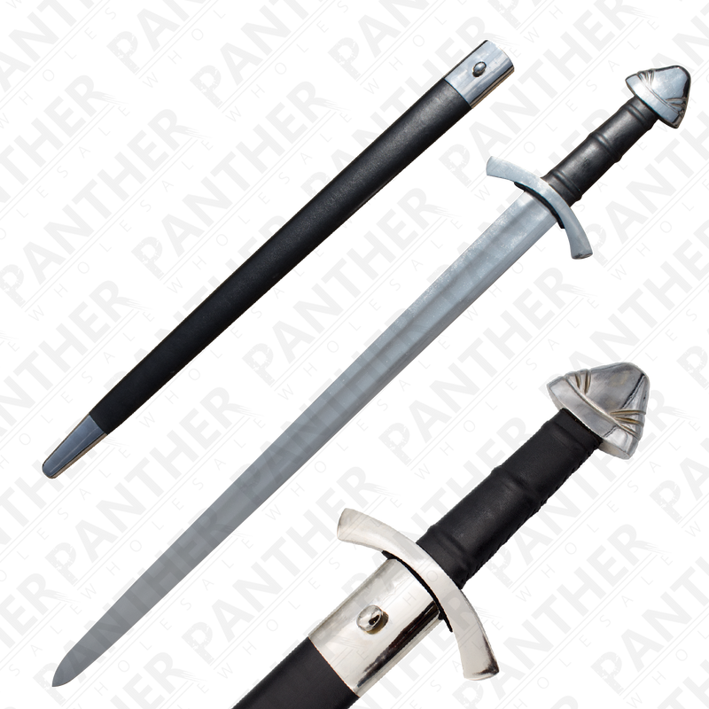 Viking Battle Ready Sword and Scabbard Set - Silver