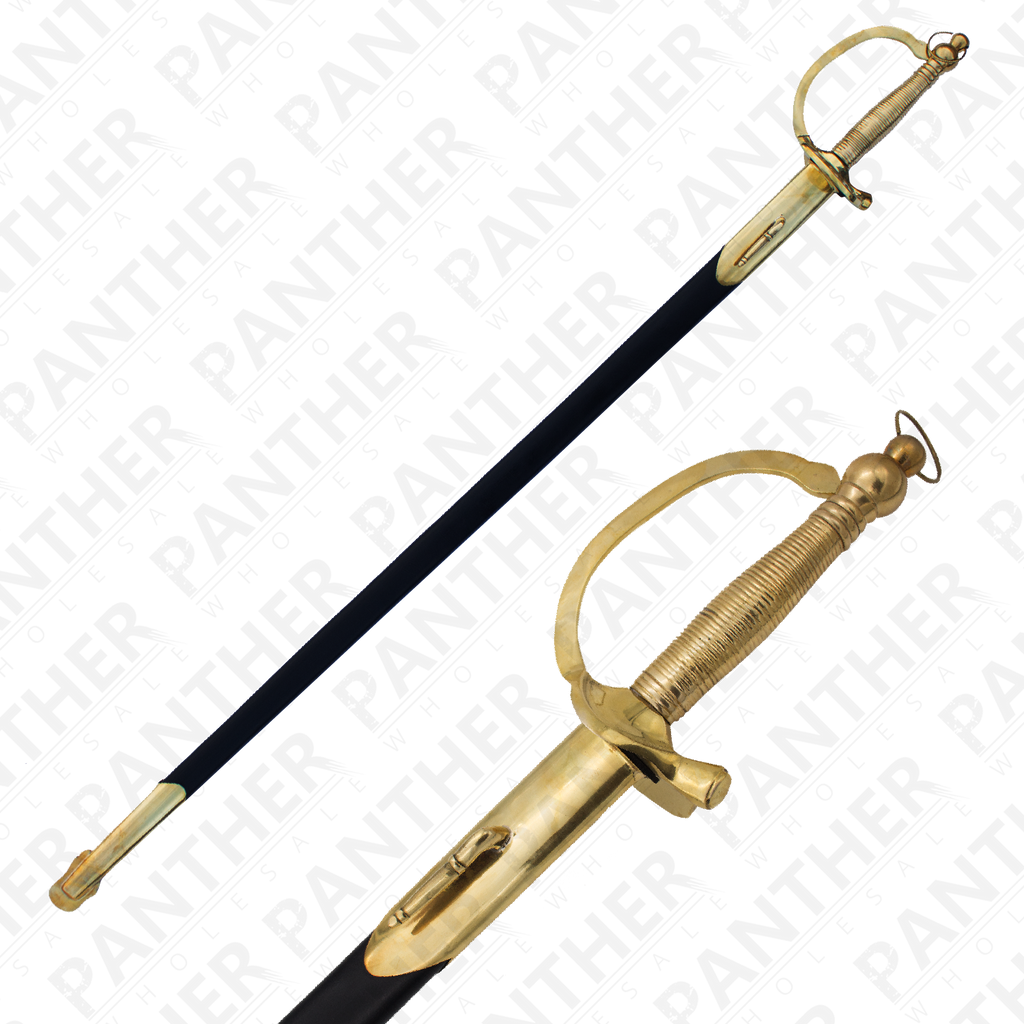 Civil War Sabre With Genuine Leather and Real Brass Scabbard, , Panther Trading Company- Panther Wholesale