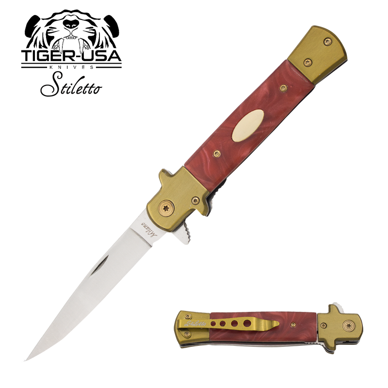 9 Inch Eurotop Stiletto knife - Red Marble