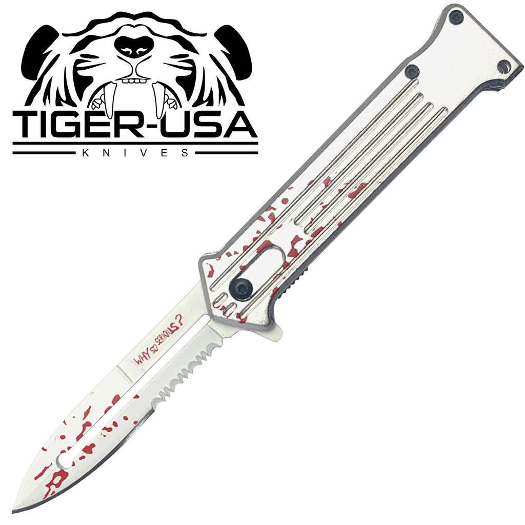 Tiger-USA Spring Assisted Knife - Joker Silver Blood