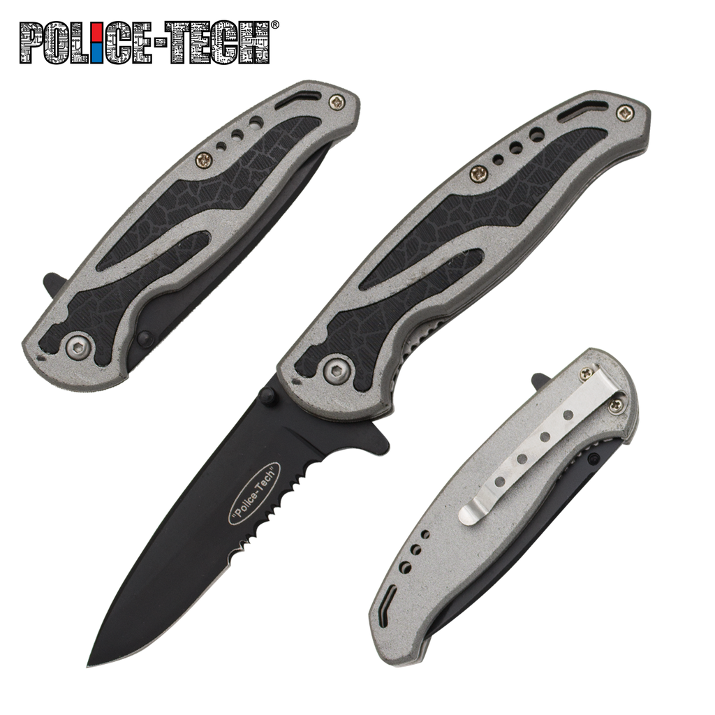 "Police Tech: 7"" Tactical Rescue Knife - Silver"
