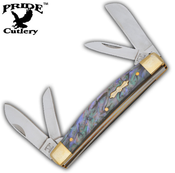 4 Inch Dreamy Abalone Congress Pocket Knife-4 Bladed, , Panther Trading Company- Panther Wholesale