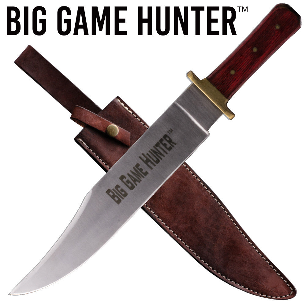Big Game Hunter Red Deer Bowie Knife Wooden Handle, , Panther Trading Company- Panther Wholesale