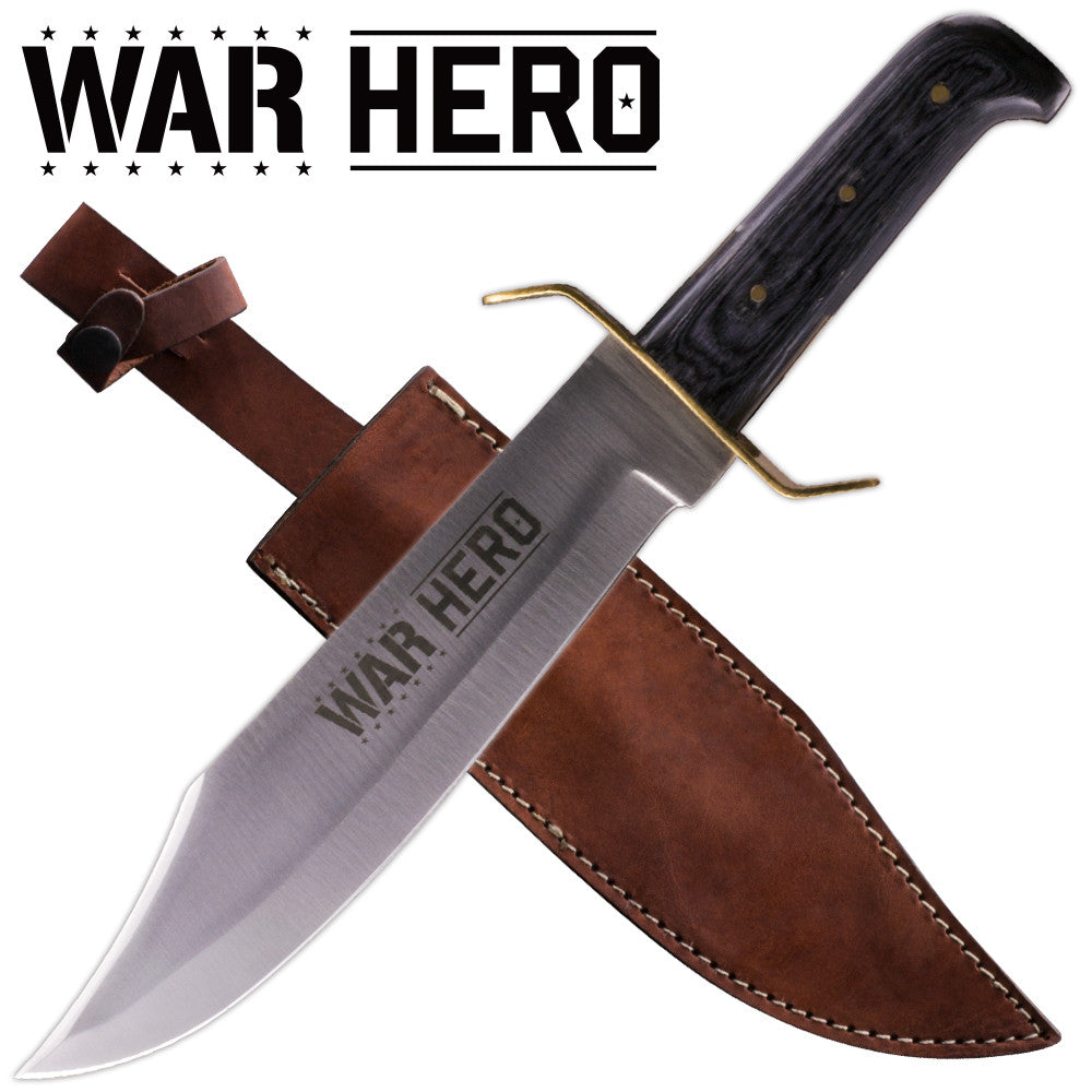War Hero Red Deer Bowie Knife Wooden Handle, , Panther Trading Company- Panther Wholesale