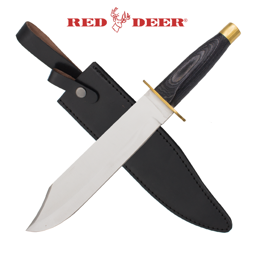 Red Deer Bowie Knife Wooden Handle, , Panther Trading Company- Panther Wholesale